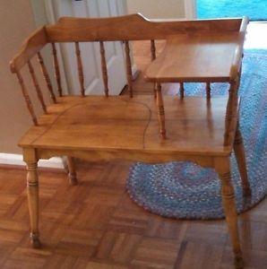Vintage Antique Telephone Table Desk Gossip Bench Maple