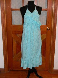 Disney Floral Tween Dress Preteen Baby Blue Halter Frilly Empire Waist Maxi Sz M