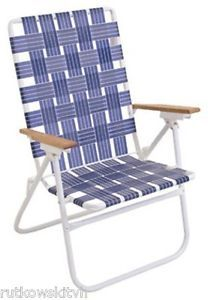 Rio Web Folding Chair Hi Back King Size White Steel Frame Blue Webbing 280 Lb