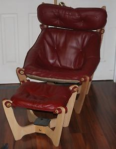 Mid Century Modern Style Red Leather Ottoman Chair Scan Design Luna Falcon Chair