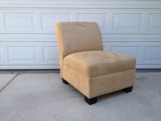 $879 Pottery Barn Wheat Oat Beige Suede Armless Chair Pearce Local Pick Up Only