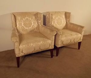 Pair Baker Furniture Company Archetype Collection Upholstered Wing Chairs