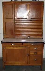 Antique Oak Hoosier Style Kitchen Cabinet Early 1900's Vintage Original Finish
