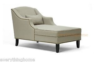 Gray Grey Linen Fabric Victorian Wingback Lounge Chaise Sofa Chair Nail Head New