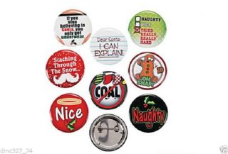 24 Christmas Holiday Party Favors Stocking Stuffers Funny Sayings Buttons Pins
