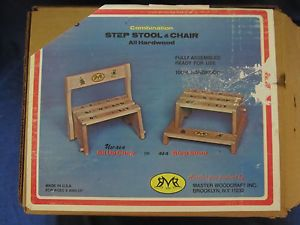 ... New Vintage Childs Step Stool Chair Combination I Can Sit N Stand ...