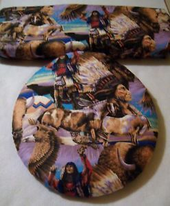Indian Native American Toilet Seat Tank Lid Cover Set
