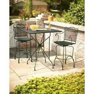 Outdoor Wrought Iron Bistro Set High Top Table Chairs Resort Bar Style Black