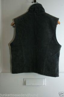 Maxima Womens Dark Blue Suede Leather Vest Jacket Fleece Lined Sz M C235