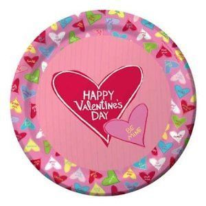 Candy Crush Valentine's Day Dinner Plates Party Supplies Conversation Hearts