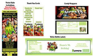 The Muppets Movie Kermit Frog Birthday Party Ticket Invitations Supplies Favors