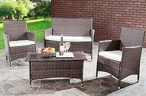 Outdoor Living Brown Patio Set Furniture Garden Table Coffee Home BBQ Chair Seat