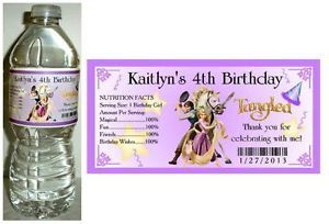 20 Rapunzel Tangled Birthday Party Favors Water Bottle Labels