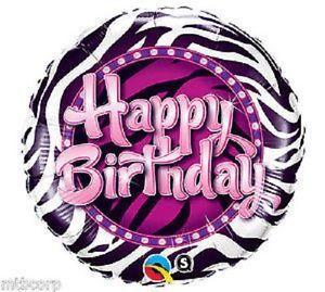 Happy Birthday Black Pink Zebra 21st 18th Birthday Party Balloon