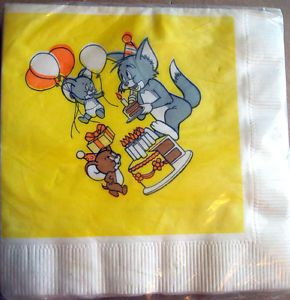 New Vintage Tom and Jerry Napkins Birthday Party Supplies 1982 Balloons Cake