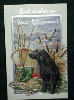 Best Wishes on Your Retirement Greeting Card Black Lab Dog