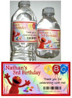 20 Elmo Sesame Street Birthday Party Favors Water Bottle Labels