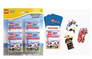Lego City 4 Birthday Party Favors Memory Game Packs of Cards NIP Supplies