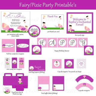 Complete Fairy Pixie Party Package Birthday Printable Custom Invitation
