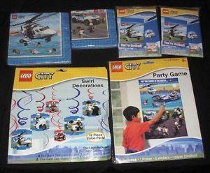 New SEALED Lego City Birthday Party Supply Set Game Invitations Napkins Danglers