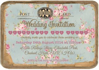 Personalised Vintage Tea Party Postcard Wedding Invitations