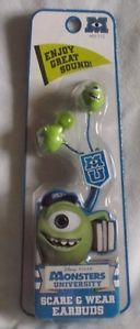 New Disney Monsters University Mike Wazowski Earbuds Headphones Earphones