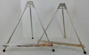 2 Vintage Table Top Easels Metal Travel Folding Stanrite Painting Art Artist S