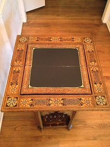 Antique Egyptian Game Table Great Inlay Folding Backgammon Game Board Leather