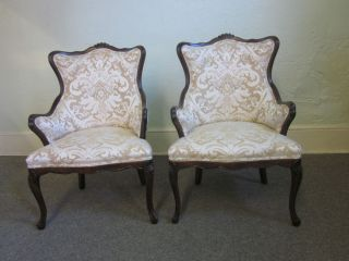 Quality Pair of French Carved Louis XV Living Room Chairs
