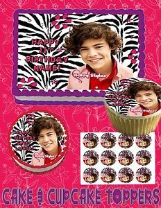 Harry Styles One Direction Birthday Cake Topper Edible Picture for Picture Cup