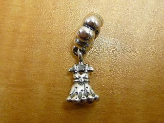 Authentic Pandora 925 Ale Sterling Silver Dangle Party Girl Dress Charm 791031