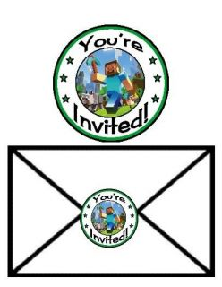24 Minecraft Creepers Steve Pickaxe Birthday Party Invitation Envelope Seals