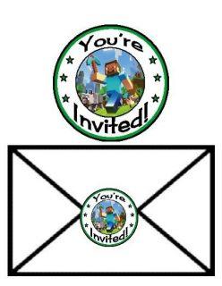 24 Minecraft Creepers Steve Pickaxe Birthday Party Invitation Envelope Seals