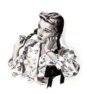Retro 1950's Pin Up Girl in Chair Cross Stitch Pattern