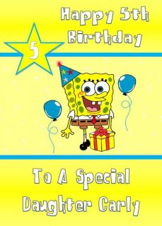 New Design Personalised Birthday Card Spongebob Daughter Niece Friend Son Nephew