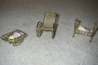 Dollhouse Miniature Baby Rocking Brass Cradle Bassinet Crib Chair 2 Babies