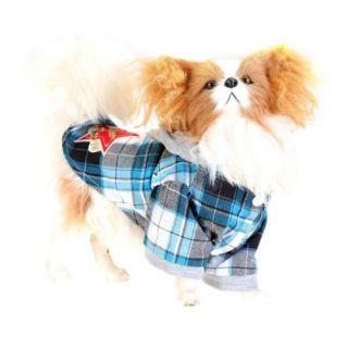 Cotton Check Plaid Super Star Pet Dog Yorkie Hoodie Hood Shirt Apparel Clothes