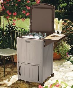 Rolling Outdoor Patio Beverage Drink Cooler BBQ Party Entertaining Supplies New