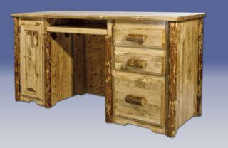 Rustic Desk Log Computer Desk Solid Pine Desk