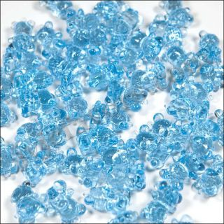 48 Teddy Bear Charms Baby Shower Favor Clear Blue Boy Decor Party Decorations