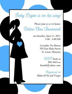 Modern Mom Blue and Black Baby Shower Invitations