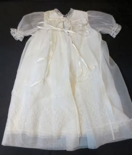 Vintage Antique Baby Clothes Gown Dress Christening Baptismal Sheer Embroidered