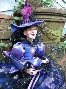 Halloween Fairy Witch Doll Primitive Folk Art Spider Jewels Wings Broom Feathers