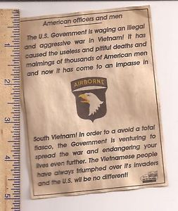 VIETNAM ENEMY FLYER for THE 101st AIRBORNE TROOPS FIGHTING an ILLEGAL WAR