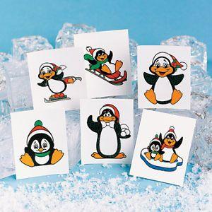 72 Glitter Penguin Christmas Tattoos Party Favors Stocking Stuffer