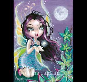 ACEO Fairy Fantasy Fairytale Gothic Big Eye Art Moon Spell Magic Limited Edition