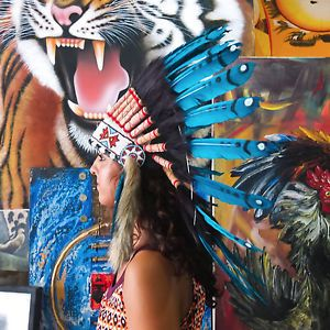 Real Chief Indian Headdress 65cm Feathers Native American Costume War Bonnet