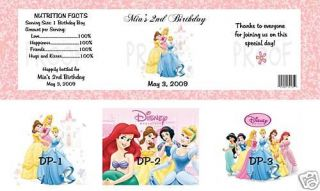 Birthday Disney Princess Water Bottle Labels