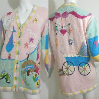 """Storybook Knits RARE """"Stork Party"""" Baby Theme Cardigan Sweater Small"""