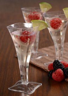 Lot of 96 Square Plastic Mini Champagne Flute Glasses Wedding Tastings